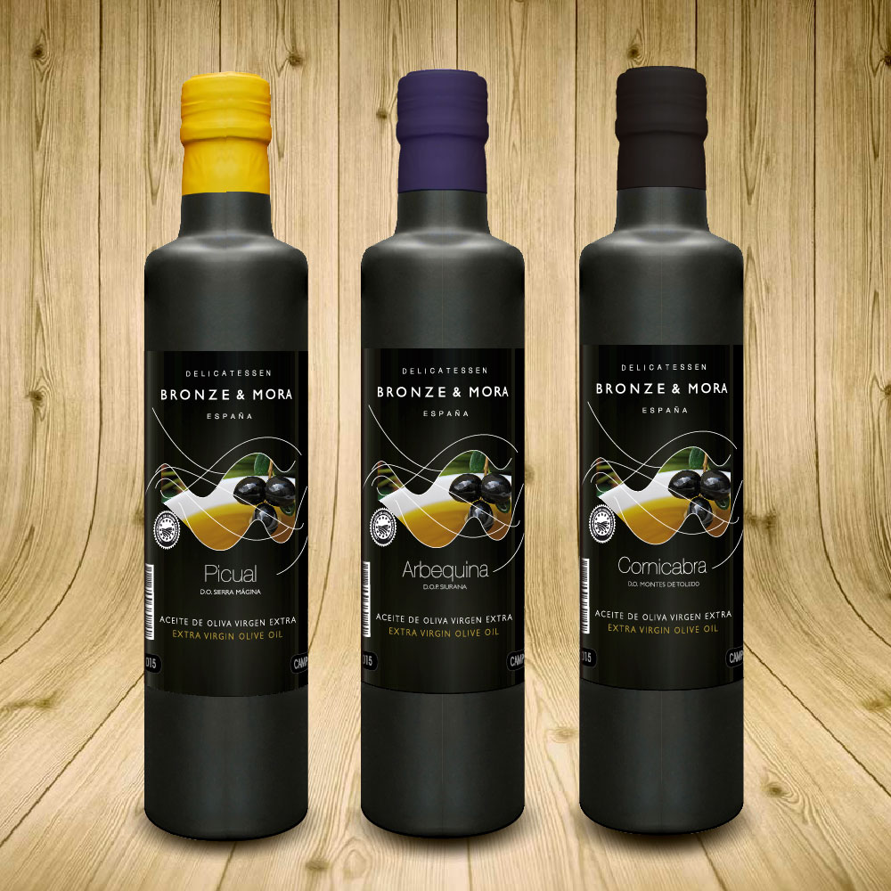 botellas-aove-aceite-de-oliva-virgen-extra-Bronze-&-Mora-ideal-para-regalar-la-mejor-y-unica-selección-de-España