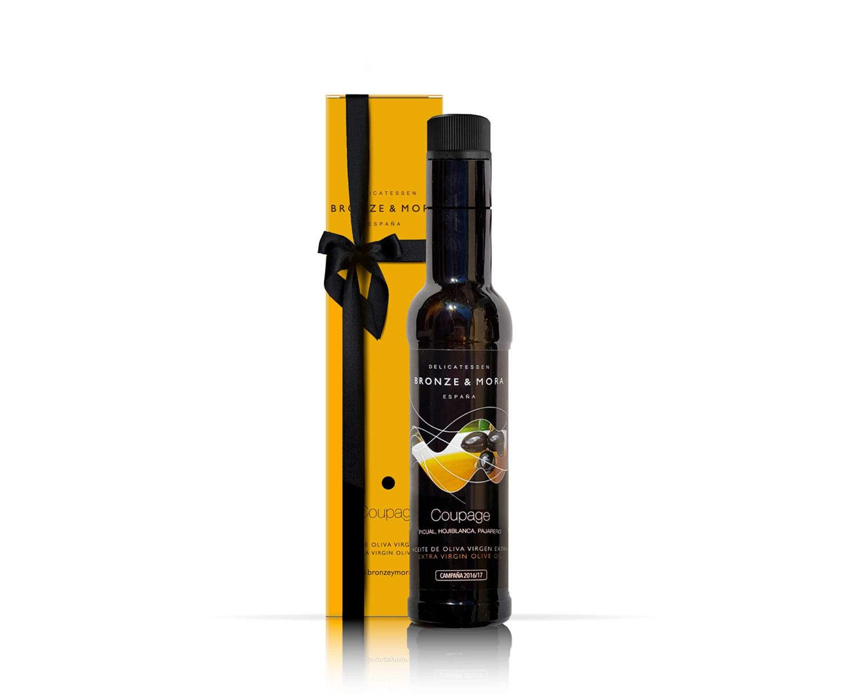 Botella coupage regalo gourmet aceite de oliva para regalar regalo empresa bronze y mora