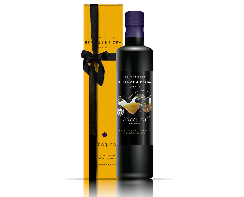 Botella arbequina regalo gourmet aceite de oliva para regalar regalo empresa bronze y mora