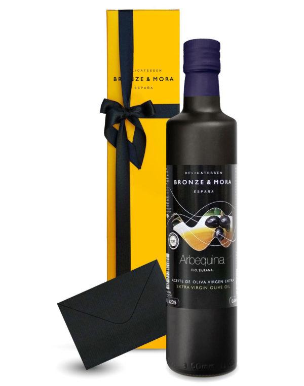 Aceite de oliva gourmet para regalar botella arbequina Bronze y Mora aceite de oliva virgen extra ideal como regalo gourmet, regalo personalizable, cesta de Navidad y regalo de empresa aceite para regalar oleoteca madrid
