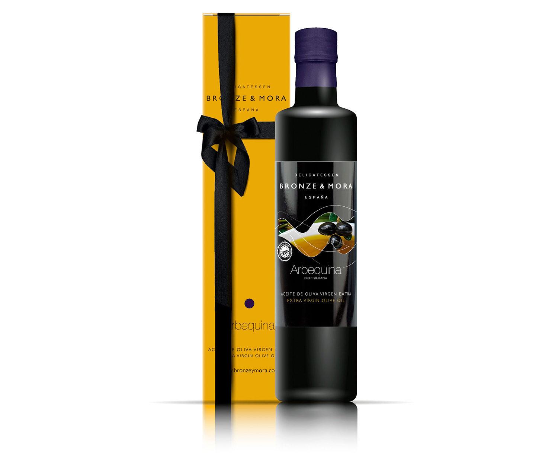 Botella aceite de oliva Arbequina Bronze & Mora regalo gourmet