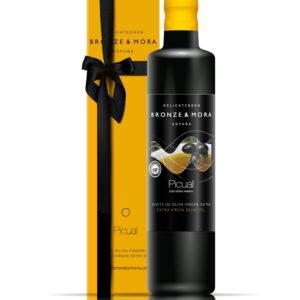 Botella aceite de oliva Picual Bronze & Mora regalo gourmet
