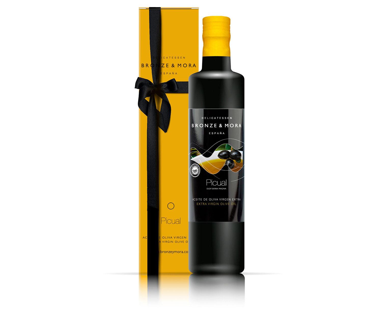Botella picual regalo gourmet aceite de oliva para regalar regalo empresa bronze y mora