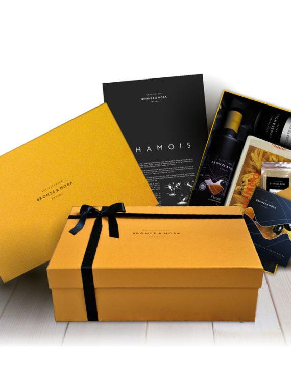 estuche-bronze-mora-chamois-regalo-gourmet-aceite-para-regalar-cesta-navidad-regalo-empresa