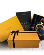 Estuche regalo Rouge Bronze y Mora aceite de oliva virgen extra ideal como regalo gourmet, regalo personalizable, cesta de Navidad, regalo de empresa y aceite para regalar con oleoteca en Madrid