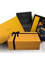 Cesta de regalo gourmet estuche regalo Fume Poire Bronze y Mora aceite de oliva virgen extra ideal como regalo gourmet, regalo personalizable, cesta de Navidad, regalo de empresa y aceite para regalar con oleoteca en Madrid