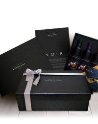 Cesta regalo estuche regalo Noir Bronze y Mora aceite de oliva virgen extra ideal como regalo gourmet, regalo personalizable, cesta de Navidad, regalo de empresa y aceite para regalar con oleoteca en Madrid