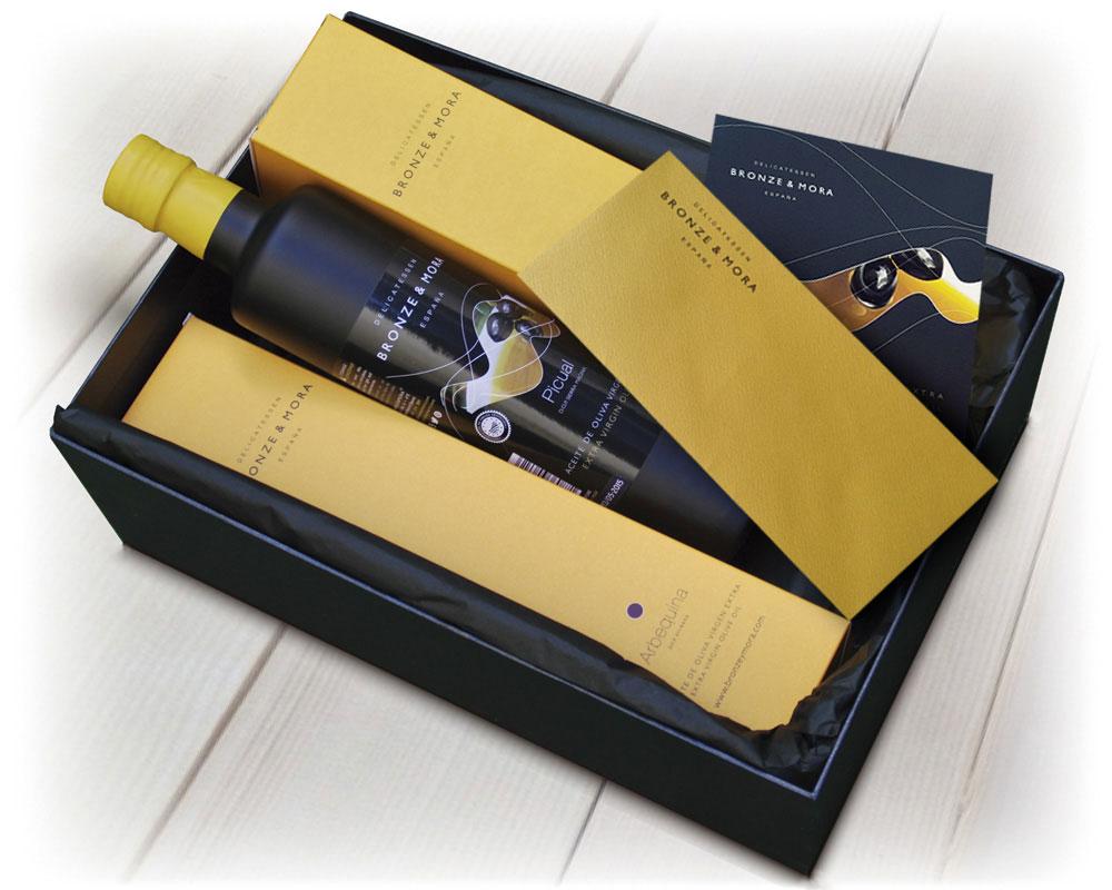 Estuche regalo Noir Bronze y Mora aceite de oliva virgen extra ideal como regalo gourmet, regalo personalizable, cesta de Navidad, regalo de empresa y aceite para regalar con oleoteca en Madrid