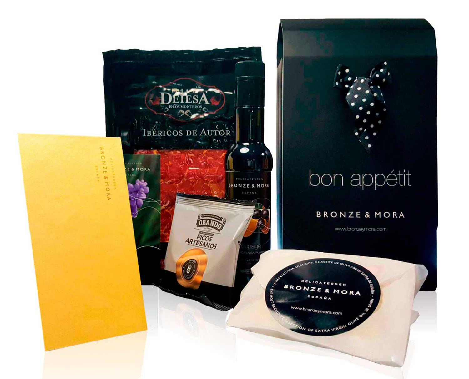 Cesta regalo gourmet bon appetit S lomo aceite para regalar bronze y mora