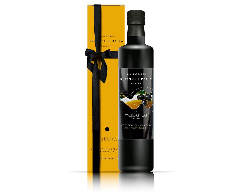 Botella hojiblanca regalo gourmet aceite de oliva para regalar bronze y mora