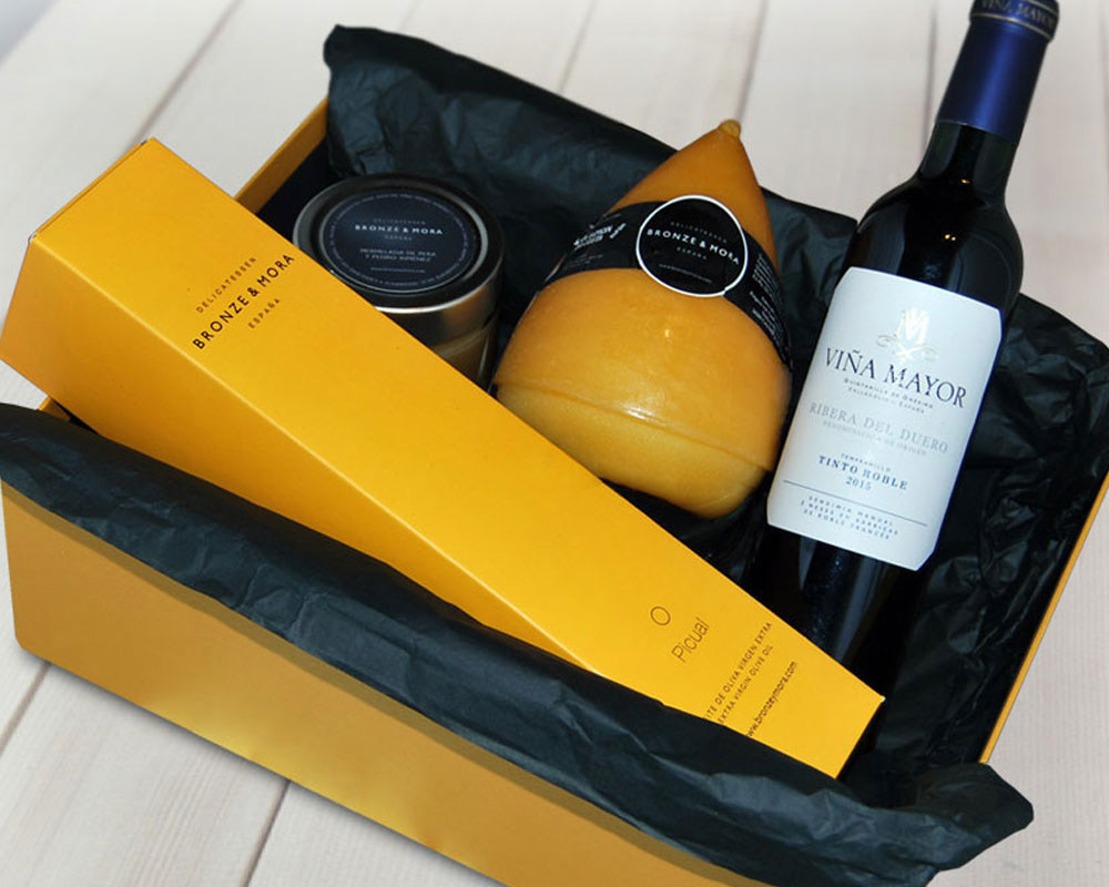 Estuche regalo Fume Poire Bronze y Mora aceite de oliva virgen extra ideal como regalo gourmet, regalo personalizable, cesta de Navidad, regalo de empresa y aceite para regalar con oleoteca en Madrid