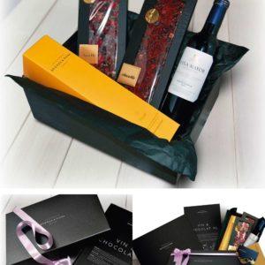 Cesta regalo gourmet Vin & Chocolat, el mejor chocolate con vino y aceite para regalar