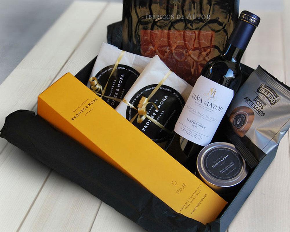 Cesta regalo gourmet Étoile aceite de oliva para regalar Bronze & Mora